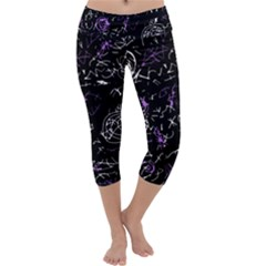 Abstract Mind   Purple Capri Yoga Leggings