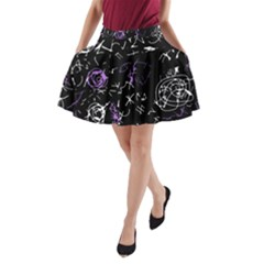Abstract mind - purple A-Line Pocket Skirt