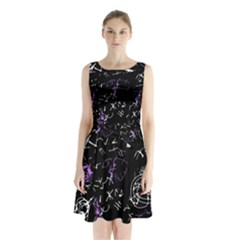 Abstract mind - purple Sleeveless Chiffon Waist Tie Dress