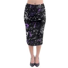 Abstract mind - purple Midi Pencil Skirt