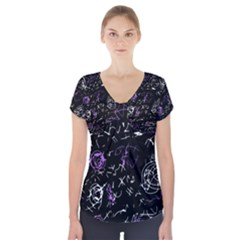 Abstract mind - purple Short Sleeve Front Detail Top
