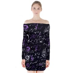 Abstract mind - purple Long Sleeve Off Shoulder Dress