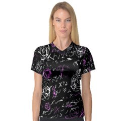 Abstract mind - magenta Women s V-Neck Sport Mesh Tee