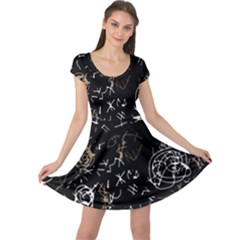 Abstract mind - brown Cap Sleeve Dresses