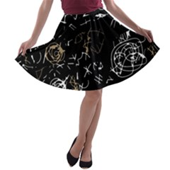 Abstract mind - brown A-line Skater Skirt