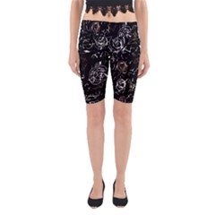 Abstract mind - brown Yoga Cropped Leggings