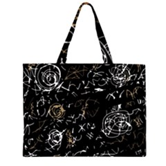 Abstract mind - brown Zipper Large Tote Bag