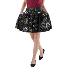Abstract mind - brown A-Line Pocket Skirt