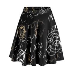 Abstract mind - brown High Waist Skirt