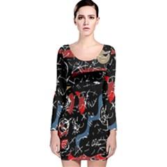 Confusion Long Sleeve Velvet Bodycon Dress