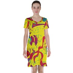 Yellow confusion Short Sleeve Nightdress