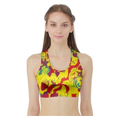 Yellow confusion Sports Bra with Border