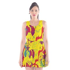Yellow confusion Scoop Neck Skater Dress