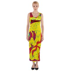 Yellow confusion Fitted Maxi Dress