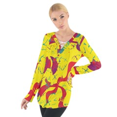 Yellow confusion Women s Tie Up Tee