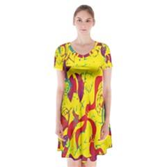 Yellow confusion Short Sleeve V-neck Flare Dress