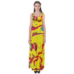 Yellow confusion Empire Waist Maxi Dress