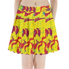 Yellow confusion Pleated Mini Skirt