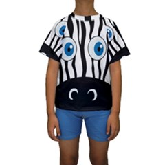 Blue eye zebra Kids  Short Sleeve Swimwear