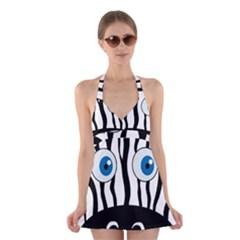 Blue eye zebra Halter Swimsuit Dress