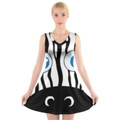 Blue eye zebra V-Neck Sleeveless Skater Dress