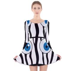 Blue eye zebra Long Sleeve Velvet Skater Dress