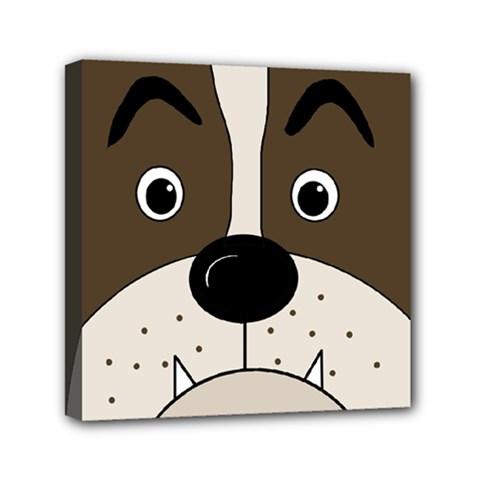 Bulldog face Mini Canvas 6  x 6