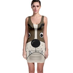 Bulldog face Sleeveless Bodycon Dress