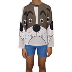 Bulldog face Kids  Long Sleeve Swimwear