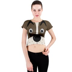 Bulldog face Crew Neck Crop Top