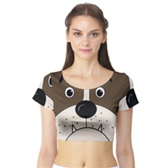 Bulldog face Short Sleeve Crop Top (Tight Fit)