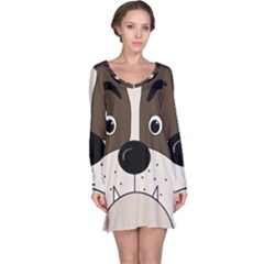 Bulldog face Long Sleeve Nightdress