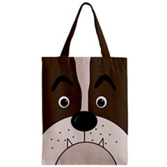 Bulldog face Zipper Classic Tote Bag