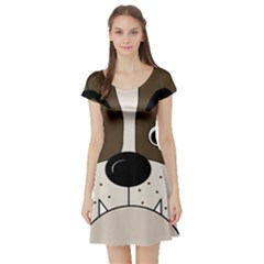 Bulldog face Short Sleeve Skater Dress