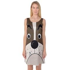 Bulldog face Sleeveless Satin Nightdress