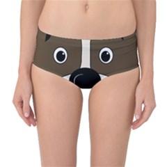 Bulldog face Mid-Waist Bikini Bottoms