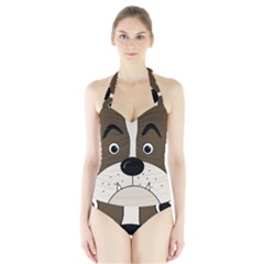 Bulldog face Halter Swimsuit