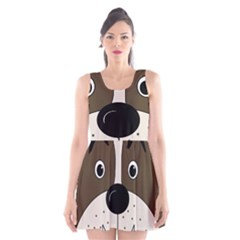 Bulldog face Scoop Neck Skater Dress