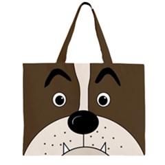 Bulldog face Zipper Large Tote Bag