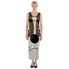 Bulldog face Fitted Maxi Dress
