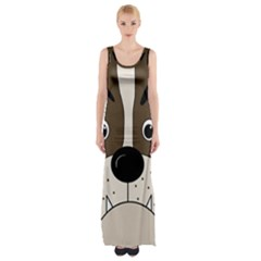 Bulldog face Maxi Thigh Split Dress