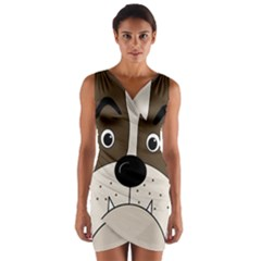 Bulldog face Wrap Front Bodycon Dress