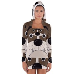 Bulldog face Women s Long Sleeve Hooded T-shirt