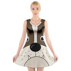 Bulldog face V-Neck Sleeveless Skater Dress