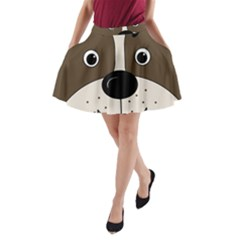 Bulldog face A-Line Pocket Skirt