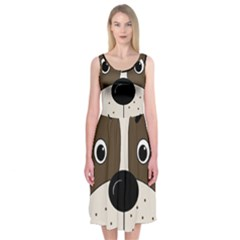 Bulldog face Midi Sleeveless Dress