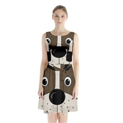 Bulldog face Sleeveless Chiffon Waist Tie Dress