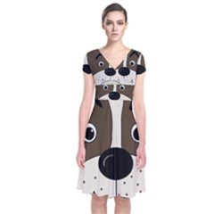 Bulldog face Short Sleeve Front Wrap Dress