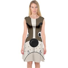 Bulldog face Capsleeve Midi Dress