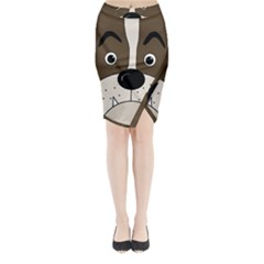 Bulldog face Midi Wrap Pencil Skirt